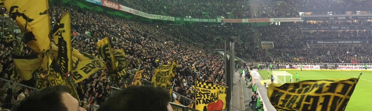 Gästeblock im Borussia-Park in Mönchengladbach