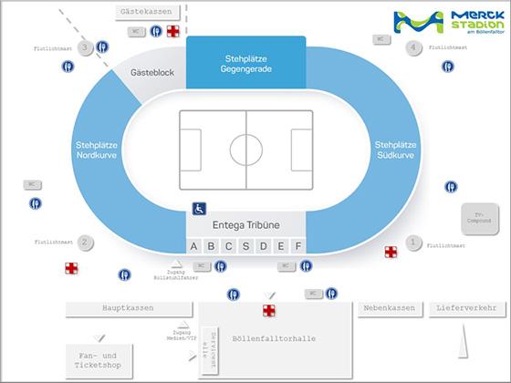 Stadionplan Merck-Stadion am Böllenfalltor