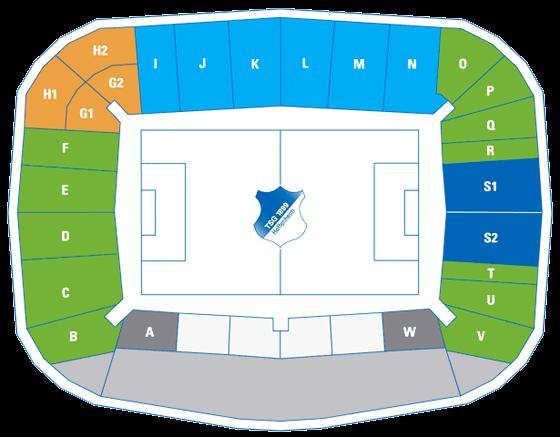 Stadionplan Wirsol Rhein-Nackar-Arena